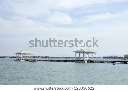 Pavilion Nature Wood Day Outdoor Sea - stock photo