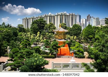 Pavilion of perfection Nan Lian garden - stock photo