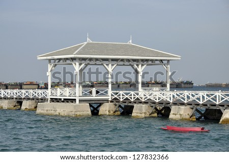 Pavilion Outdoor Sea Wood Boat Day - stock photo