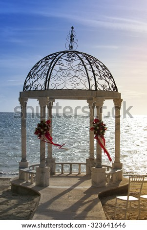 pavilion with a view of the sea - stock photo