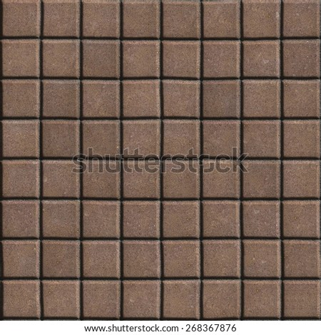 Paving Slabs Brown Lined with Small Squares. Seamless Tileable Texture.