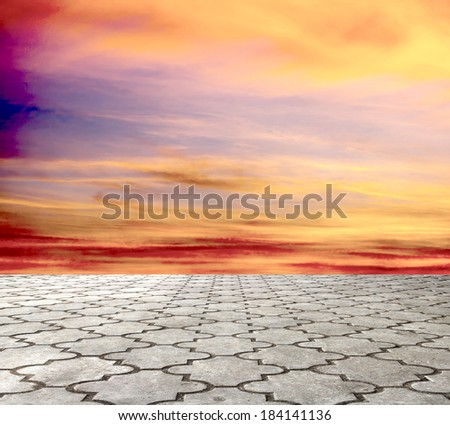 paving stone and blue sky