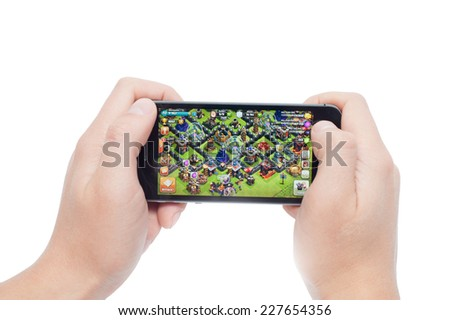 Pavlograd, Ukraine - October 31, 2014: Clash of Clans is a popular online strategy game for iPad, iPhone and Android. Created by the Supercell company in 2012. - stock photo