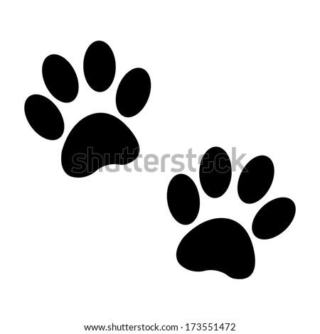 paw button black - stock photo