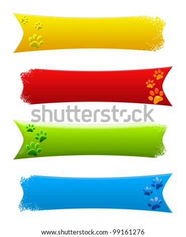 Paw print banner - stock photo