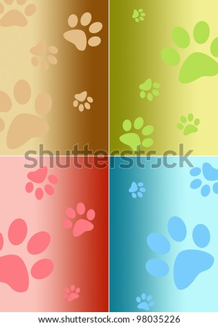 Paw print frames - stock photo