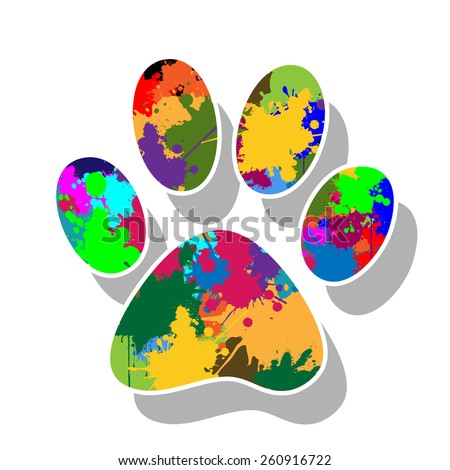 Paw prints colorful - stock photo