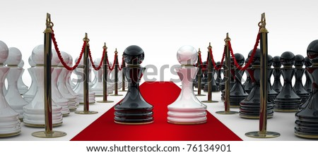 Pawn chess on red carpet isolated. 3d render - stock photo