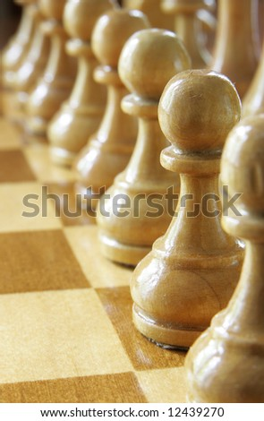 Pawn in a row close up - stock photo