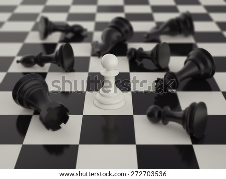Pawn in the surrounded of black chess pieces with blur - stock photo