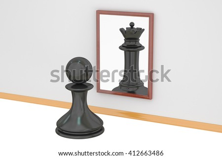 Pawn looking in the mirror seeing queen, strategy concept. 3D rendering - stock photo