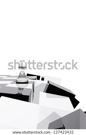 Pawn on collapsing chessboard - stock photo
