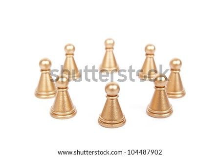 pawns forming a circle  on white - stock photo