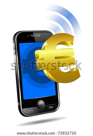 Pay by Mobile, Cell Smart Phone - raster version  - Mobile tariff and payment concept with money symbol for European Euro - stock photo