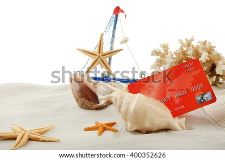 Pay cash on holiday with a credit card - stock photo