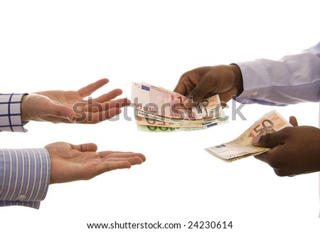 Pay day - Black man giving some euros isolated on white - stock photo