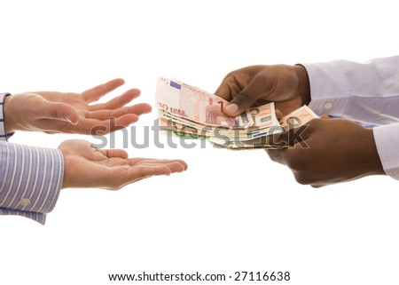 Pay day - Man giving some euros isolated on white - stock photo