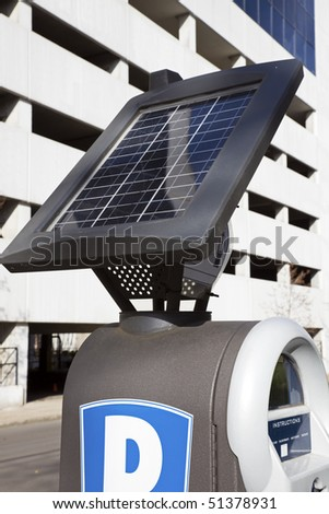 Pay for parking here! Machine powered by solar energy. - stock photo