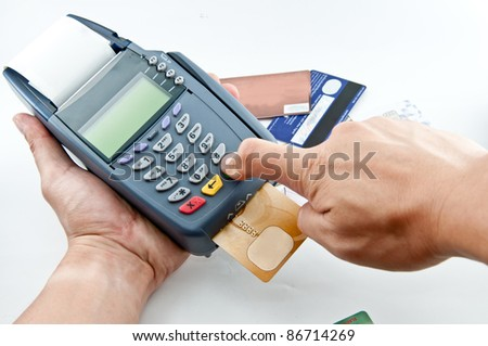 Pay money credit card with Payment machine - stock photo