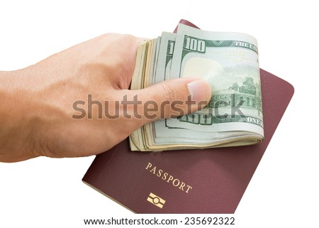pay money for counterfeit passport - stock photo