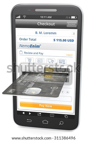 Pay Now. Black Smartphone with Credit Card Slot. Sample Shop and Black sample Credit Card. - stock photo