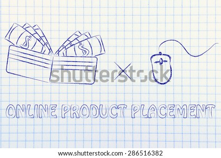 pay per click, concept of online product placements - stock photo