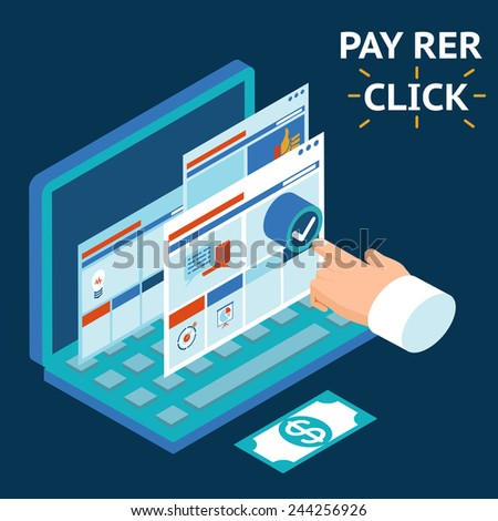 Pay per click, infographics illustration. Touch your finger to the screen of a laptop - stock photo