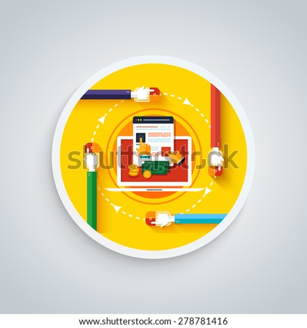 Pay per click internet advertising model when the ad is clicked. Modern flat design. Can be used for web banners, marketing and promotional materials, presentation templates. Raster version  - stock photo