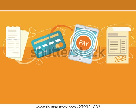 Paying bills payments online credit banner concept with buttons registration and about us. Can be used for web banners, marketing and promotional materials, presentation templates. Raster version - stock photo