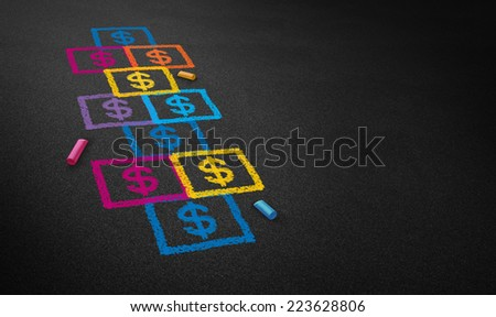 Paying for school concept and education financing business concept as a chalk drawing of a hopscotch game on a floor with dollar signs as an icon of student loans and paying for affordable schooling. - stock photo
