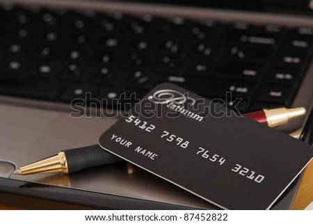 Paying With Credit Cards Online - stock photo