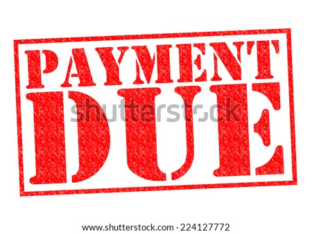 PAYMENT DUE red Rubber Stamp over a white background. - stock photo
