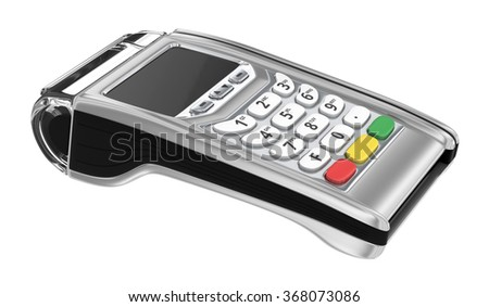 Payment GPRS Terminal, isolated on white - stock photo