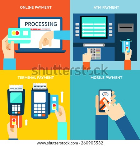 Payment methods. Business and buy, flat design and money. Credit card, cash, mobile app and ATM terminal - stock photo