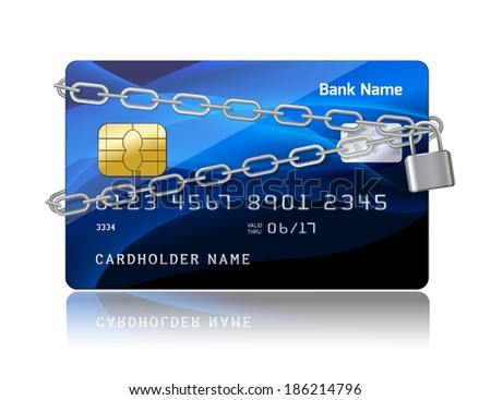 Payment security of credit card with chip protection concept isolated  illustration - stock photo