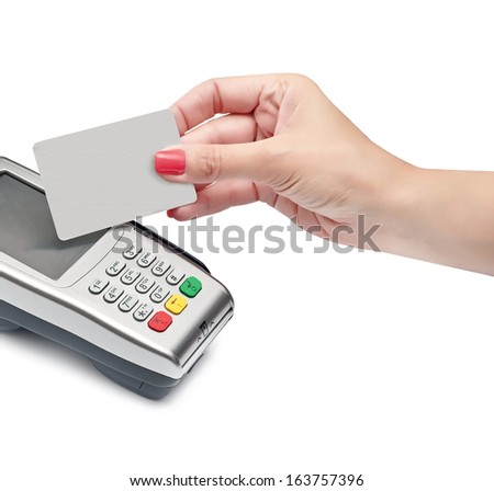payment terminal, card and hand on white background isolated