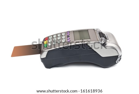 payment terminal, card on white background isolated  - stock photo