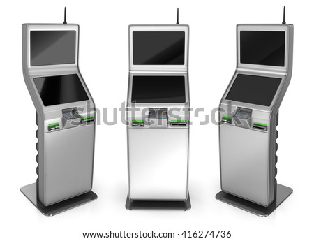 Payment terminal. 3d illustration. Isolated on white - stock photo