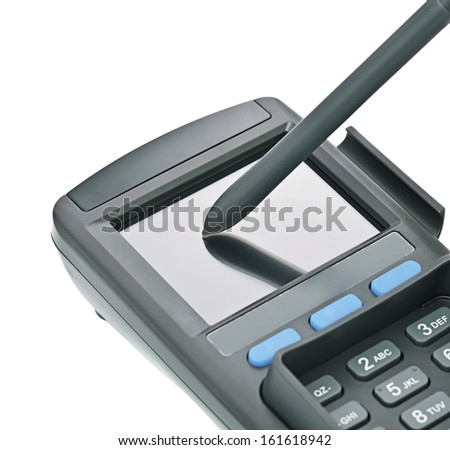 payment terminal, digital electronic signature on white background isolated - stock photo