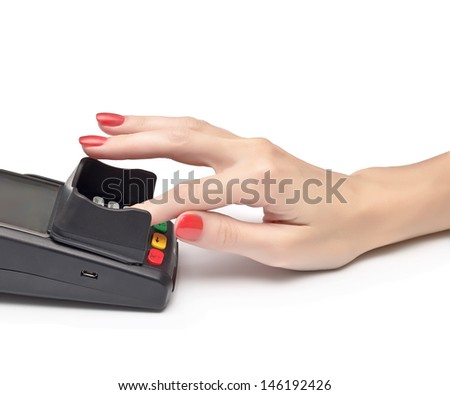 payment terminal, enter PIN on white background isolated  - stock photo