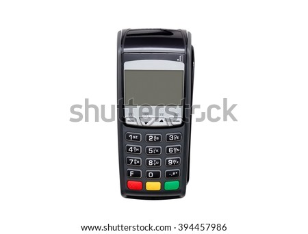 Payment terminal isolated on white. Front panel texture for your object - stock photo