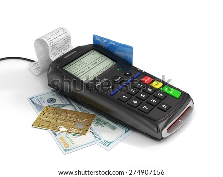 Payment terminal with credit card and money on white background, credit card reader, finance concept. - stock photo
