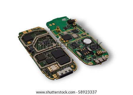 Payments and microcircuits from a cellular telephone - stock photo