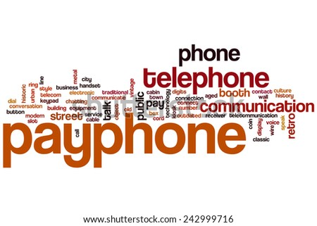 Payphone word cloud concept with telephone communication related tags - stock photo
