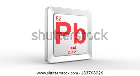 Pb symbol 82 material for Lead chemical element of the periodic table - stock photo
