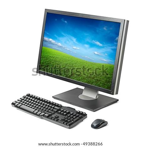 PC computer (lcd monitor screen, keyboard, mouse) isolated - stock photo