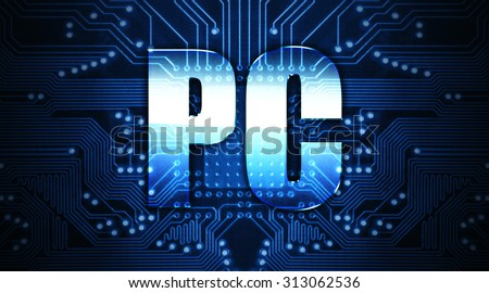 PC, concept: the word written on the chip