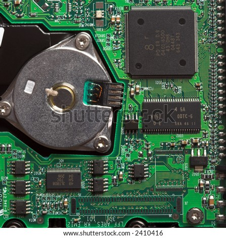 PC Hard Drive Circuit Board - stock photo