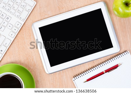 pc keyboard, pen and tablet, workplace businessman - stock photo