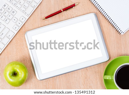 pc keyboard, pen, coffee and notepad, workplace businessman - stock photo